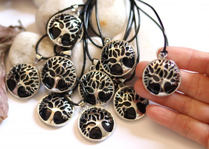 Wholesale 10 pcs Tree Of Life Black Sunstone Pendant  AHA 689