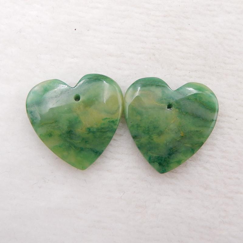 D1882 - 22.5cts Natural Green Jade Earrings Bead Pair,Heart-shaped Earrings