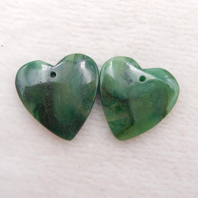 D1883 - 22.5cts Natural Green Jade Earrings Bead Pair,Heart-shaped Earrings