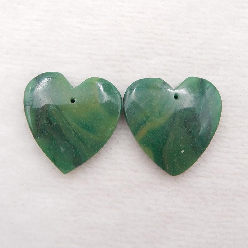 D1886 - 45cts Natural Green Jade Earrings Bead Pair,Heart-shaped Earrings