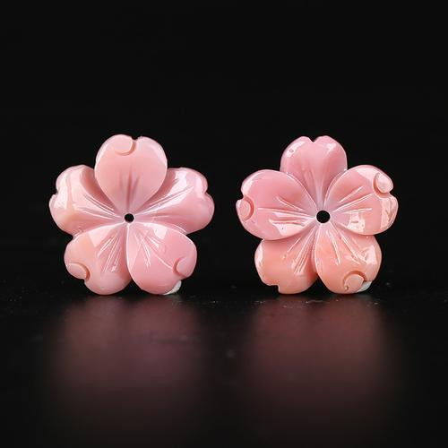 6.5cts Pink Conch Shell Carved Rose Flower Earrings Beads,Natural Gemstone