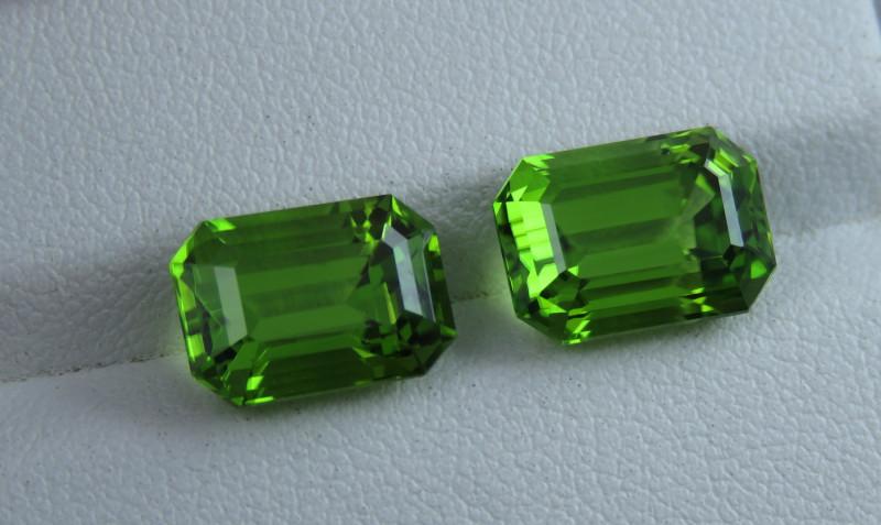 IF 10.60 Natural Green Color Emerald Cut Pair Peridot From Pakistan
