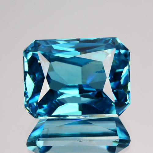 9.72 Cts Fabulous Natural Blue Zircon Radiant Cambodia