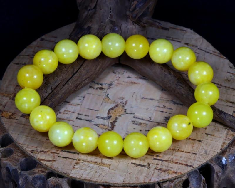 139.00Ct 10mm Natural Yellow Calcite Beads Bracelet B0370
