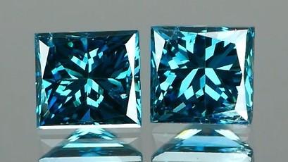*NR* Princess Cut Blue Diamond Pair 0.37Ct