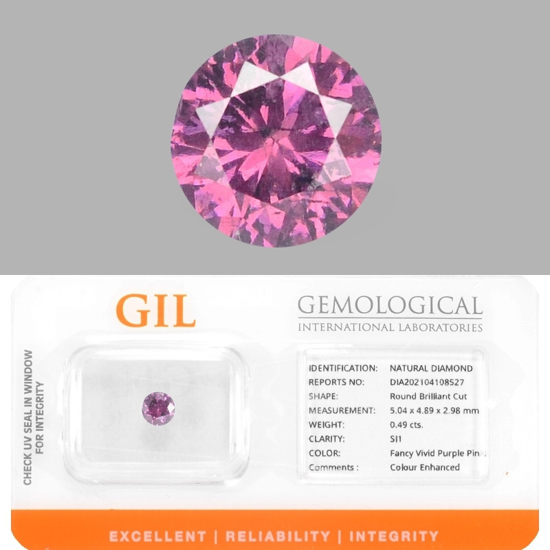 Diamond 0.49 Cts GIL Certified Sparkling Fancy Vivid Purple Pink Natural