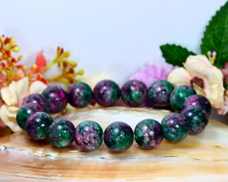 196.00Ct 12.0mm Natural Ruby Zoisite Beads Bracelet B0921