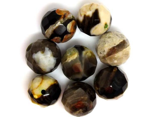 PETRIFIED WOOD BEADS, (8 PC) 65.4 CTS  NP-1187