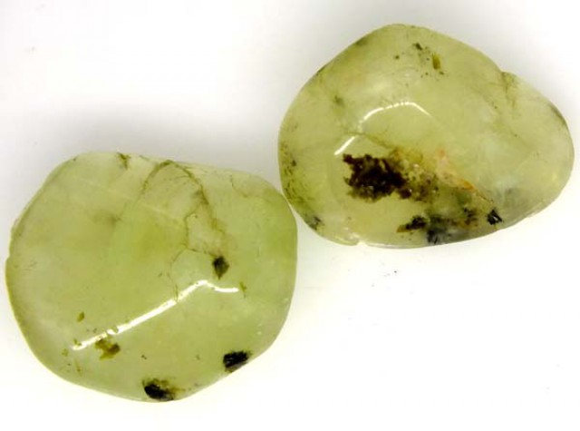 PREHNITE BEAD DRILLED 2 PCS 44.5 CTS  NP-1397