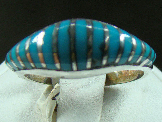 BEAUTIFUL INLAID TURQUOISE RING SIZE 6 1/4 DF-134