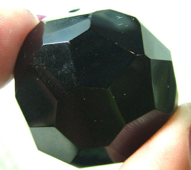 BLACK ONYX BEAD FACETED 124CTS AS-1920