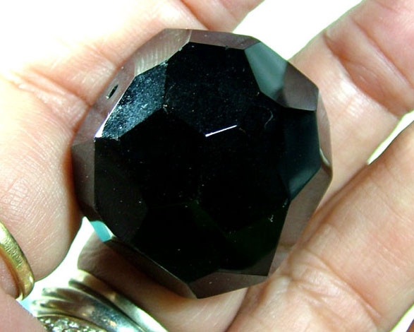 BLACK ONYX BEAD FACETED 130CTS AS-1922