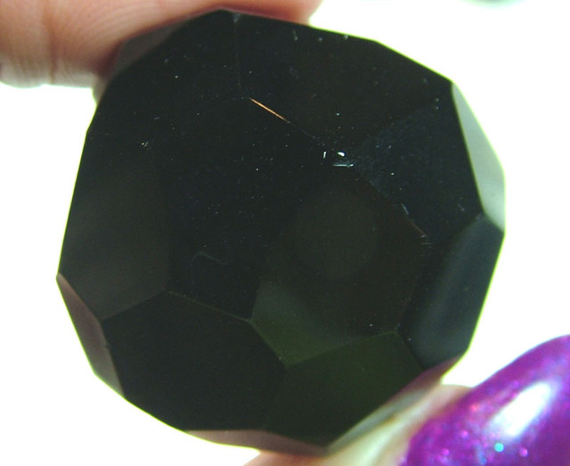 BLACK ONYX BEAD FACETED 123CTS AS-1923