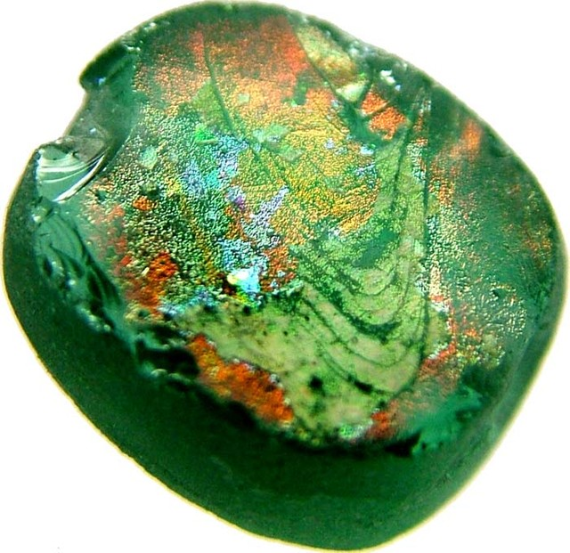 ANCIENT GLASS BEAD  FROM AFGANISTAN-DRILLED 5.95 CTS MX 4486