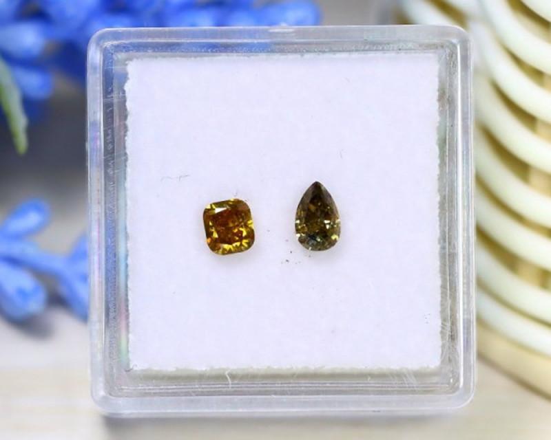 0.57Ct 2Pcs Yellow Green Diamond Untreated Genuine Diamond B1320