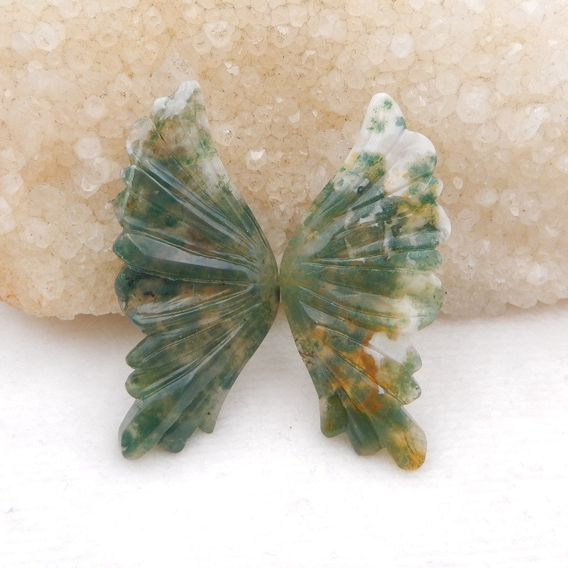 moss agate carving of butterfly wings