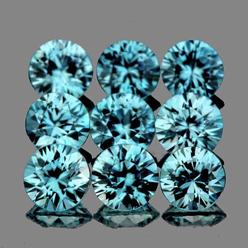 3.80 mm Round 9 pcs 3.00cts Seafoam Blue Zircon [VVS]
