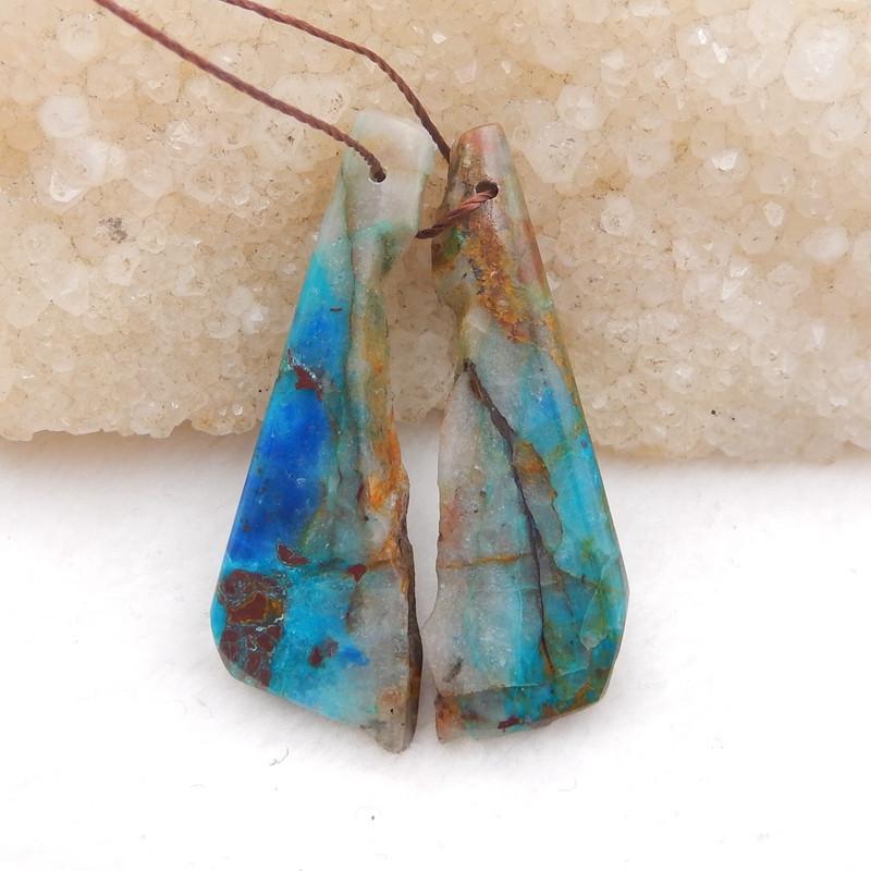 D2030 - 38cts Natural chrysocolla gemstone free shape earrings bead pair,hi