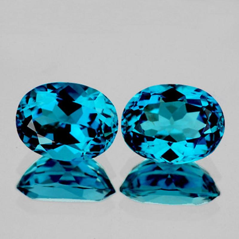 11x9 mm Oval 2 pcs 8.11cts Bright London Blue Topaz [VVS]