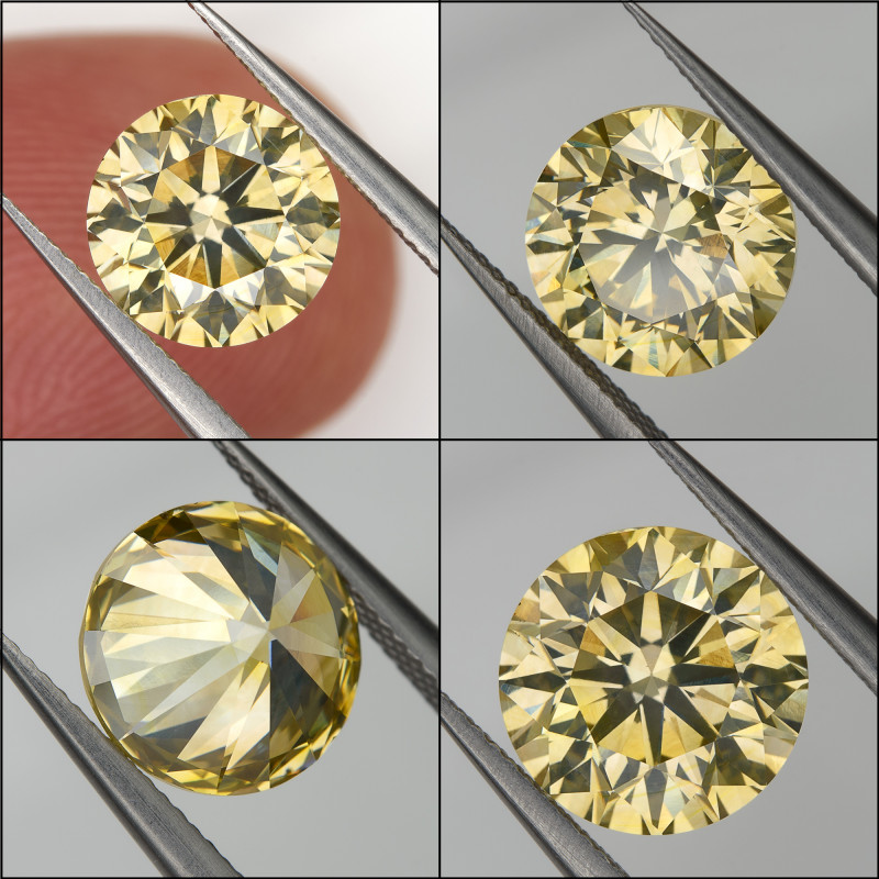 1.86 Ct. Fancy Green Yellow Loose Natural Diamond Round VS2 7.6mm for Gold