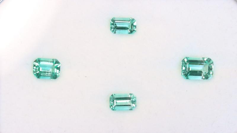 4Pcs No Oil 3.69ct Panjshir Emerald Octagon Set