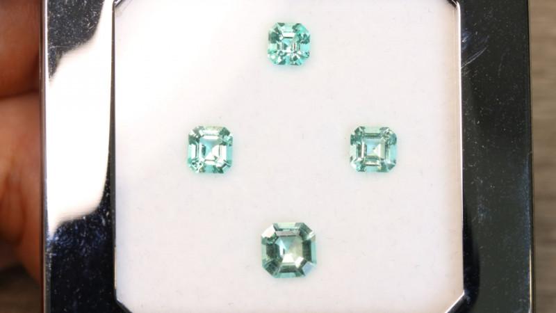 4Pcs No Oil 2.31ct Panjshir Emerald Octagon Set