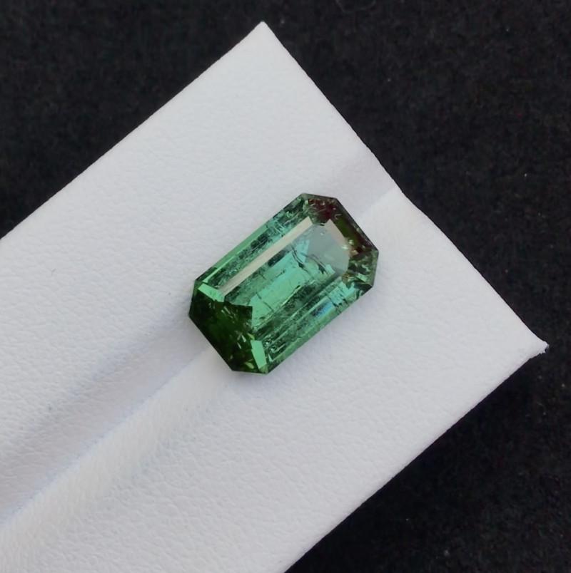Emerald Cut 6.45 ct Precious Green Tourmaline Ring Size~T