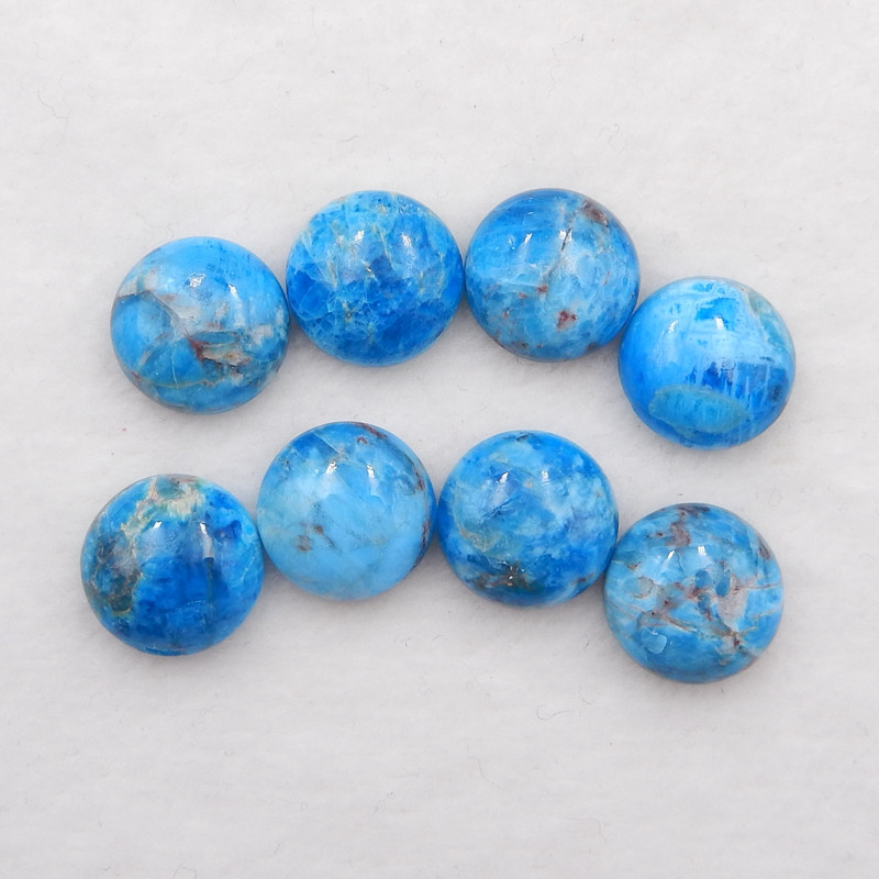 D2074 - 84.5cts Blue Apatite Crystal cabochons pair,natural Blue Apatite Cr