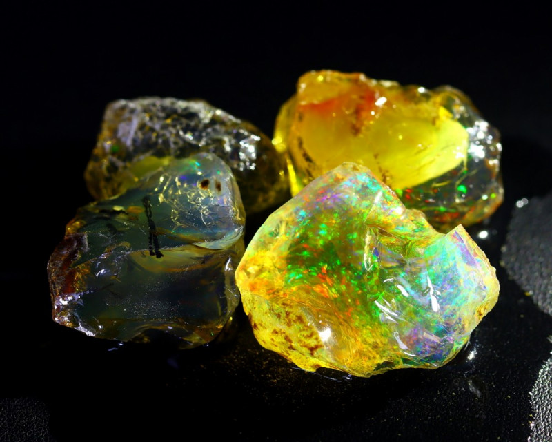 180Ct Natural Ethiopian Welo Rough Crystal Opal Flash Color C2118