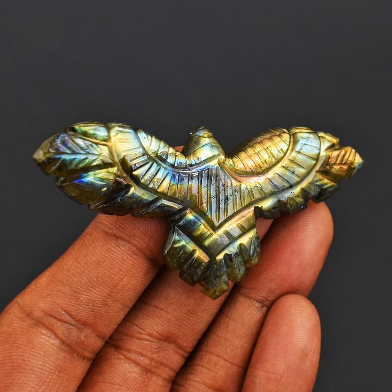 Genuine 82.00 Cts Golden Flash Labradorite Carved Eagle