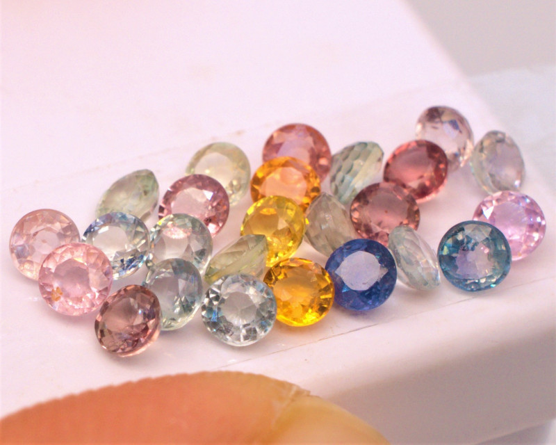 $308 Retail! 3.55 CT Multicolor Sapphire Rounds Free Ship! Madagascar 3RS3