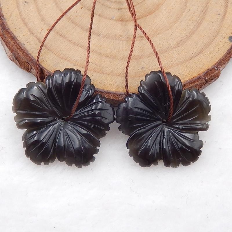 D2149 - 15.5cts black agate carved flower earrings bead pair