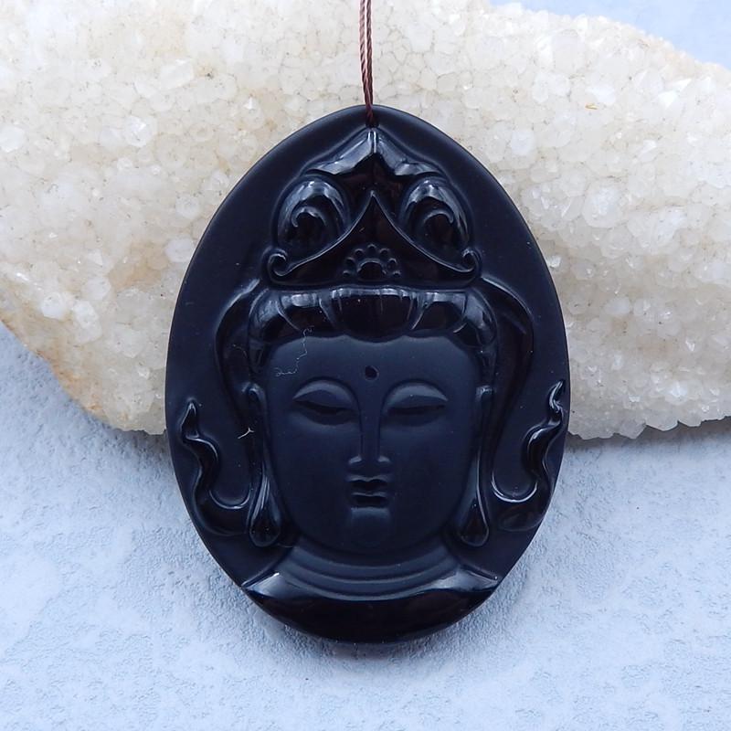 i158 - 190cts Sale Natural Obsidian Buddha Head Necklace Pendant,Semi-finis