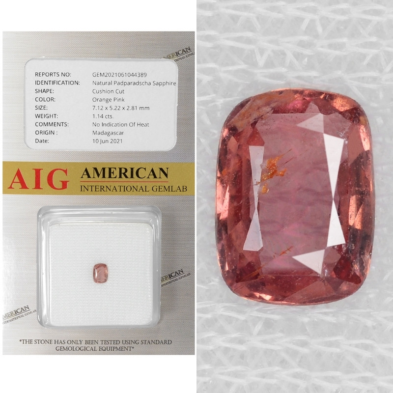 Padparadscha Sapphire 1.14 AIG Certified Cts Unheated  Natural Fancy Orange