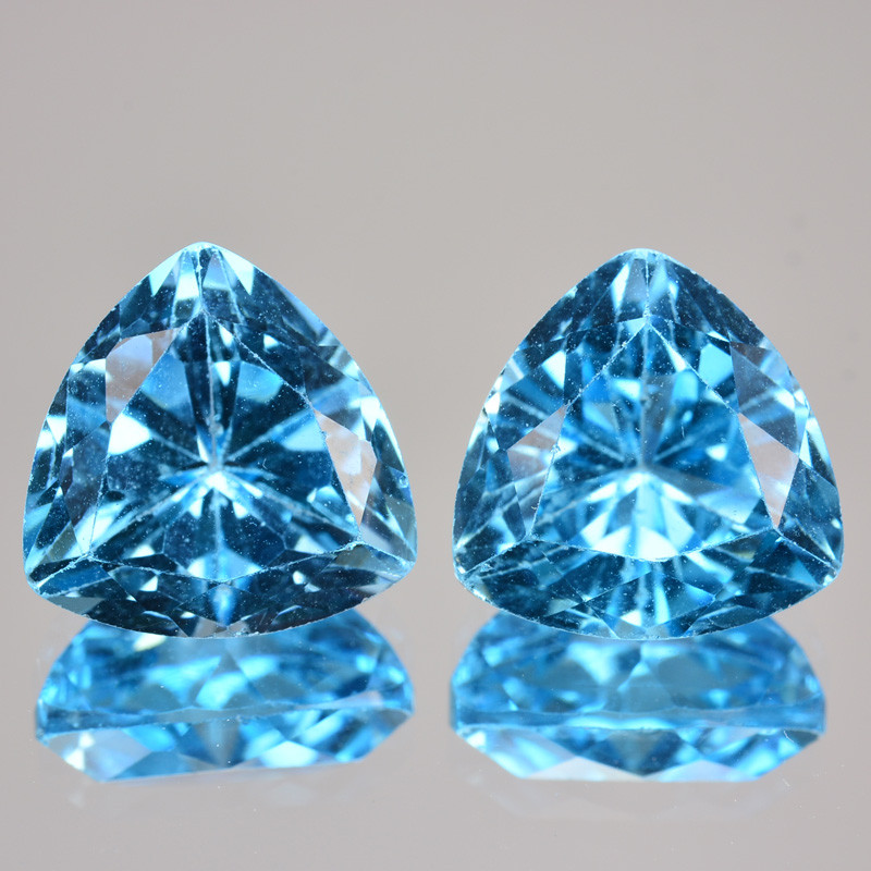 6.21 Cts Natural Baby Blue Topaz 9mm Trillion Cut Pair USA