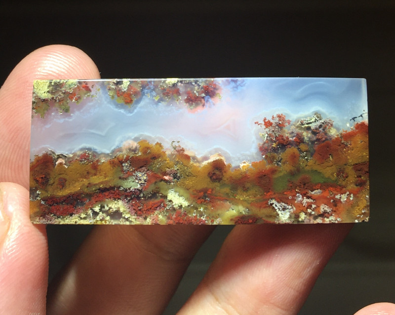 indonesian moss agate with mountain view pattern