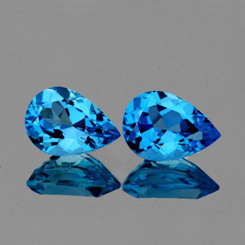 9x6 mm Pear 2 pcs 3.42cts Swiss Blue Topaz [VVS]