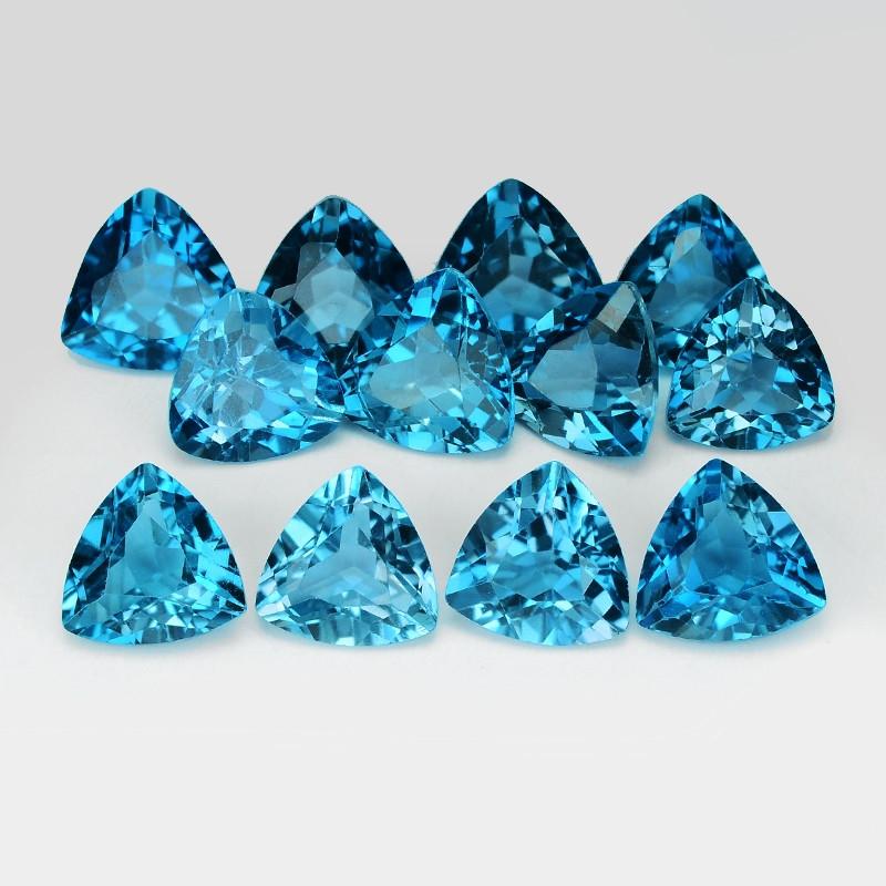 *No Reserve*Topaz 3.44 Cts 12Pcs London Blue Natural Gemstones
