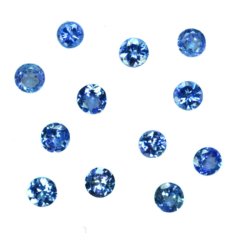 2.03 Ct Natural Purple Blue Tanzanite Round 3.5-3.1mm Calibrated
