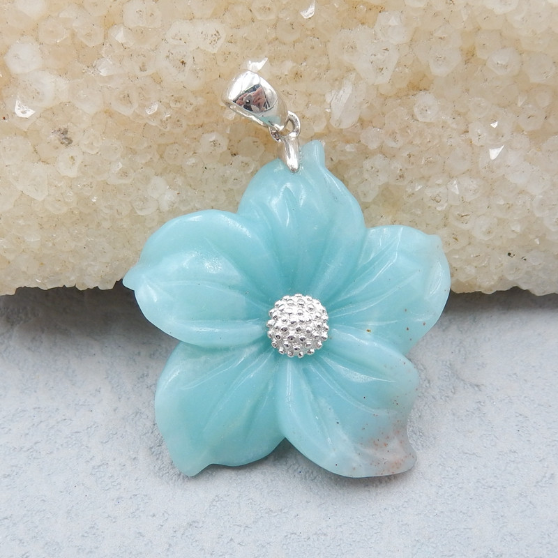 JY023 - 46cts Natural amazonite carved flower 925 silver stearling necklace