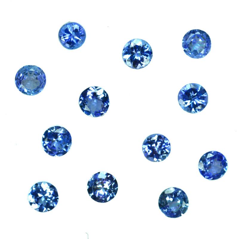 2.18 Ct Natural Purple Blue Tanzanite Round 3.5-3.1mm Calibrated