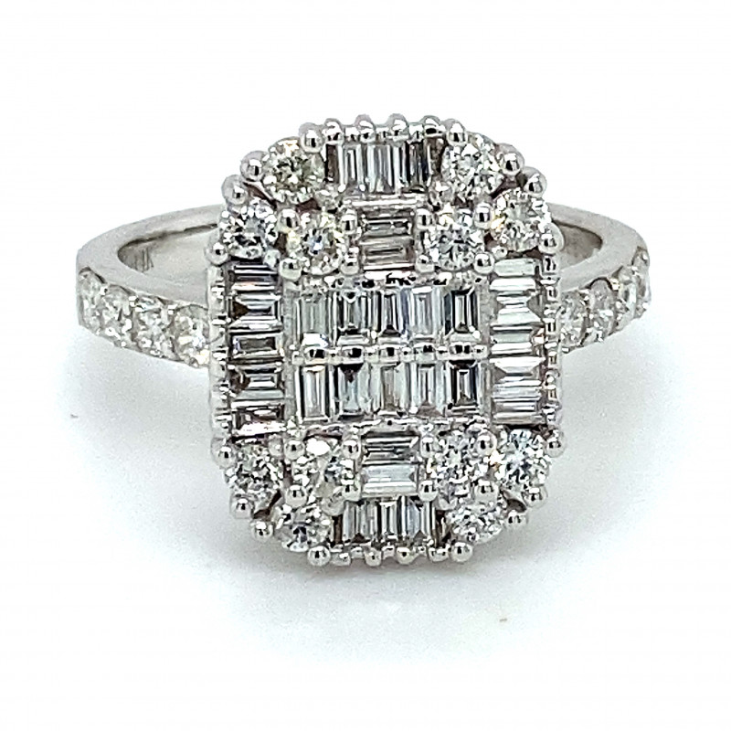Certified and Appraised Diamonds 1.30ct Solid 14K White Gold Ring