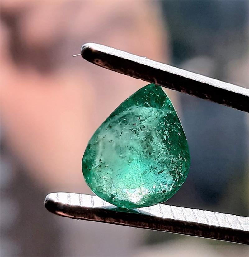Polished Natural Brazilian emerald – 1.37 ct ( Pear Cut)