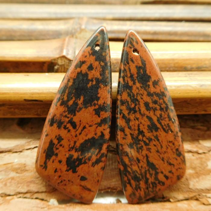 Mahogony obsidian earring pairs (G2906)