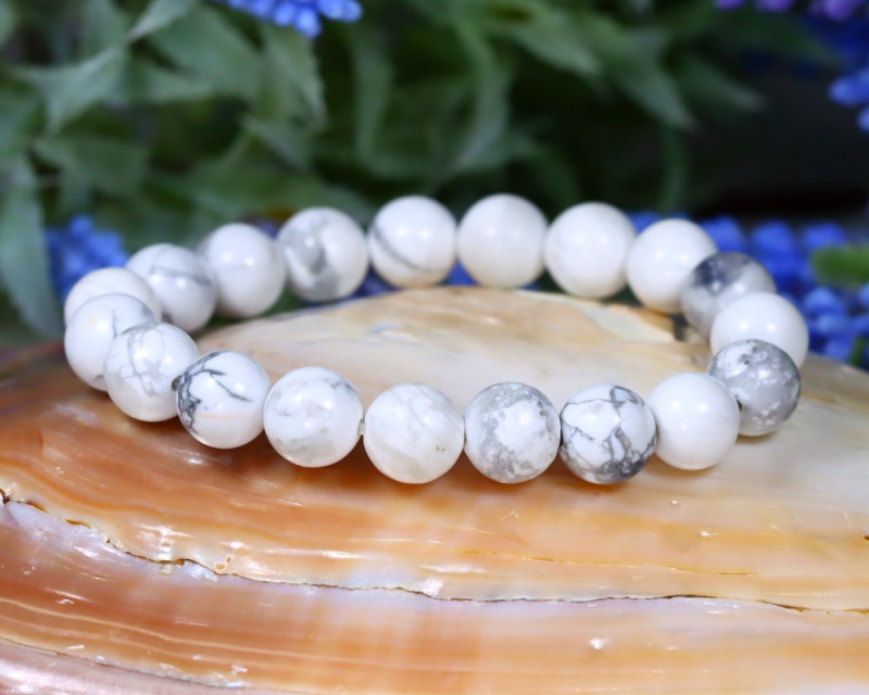 10.0mm 146.00Ct Natural Howlite Beads Bracelet ST659
