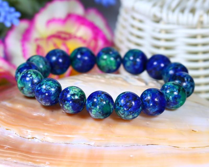 12.0mm 195.70Ct Natural Azurite Beads Bracelet ST663
