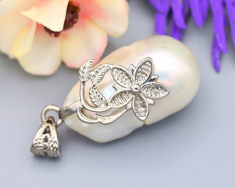 Pearl Natural Solid 925 Sterling Silver White Gold Finish Pendant RM36