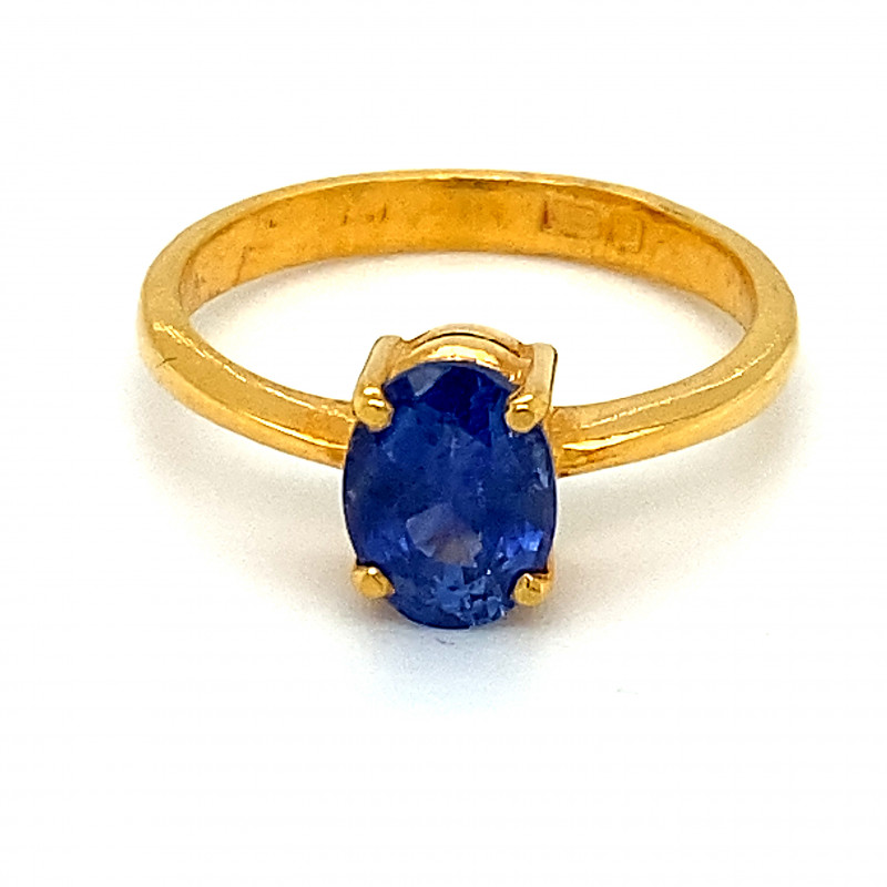 GIA Blue Sapphire 2.10ct Solid 22K Yellow Gold Ring