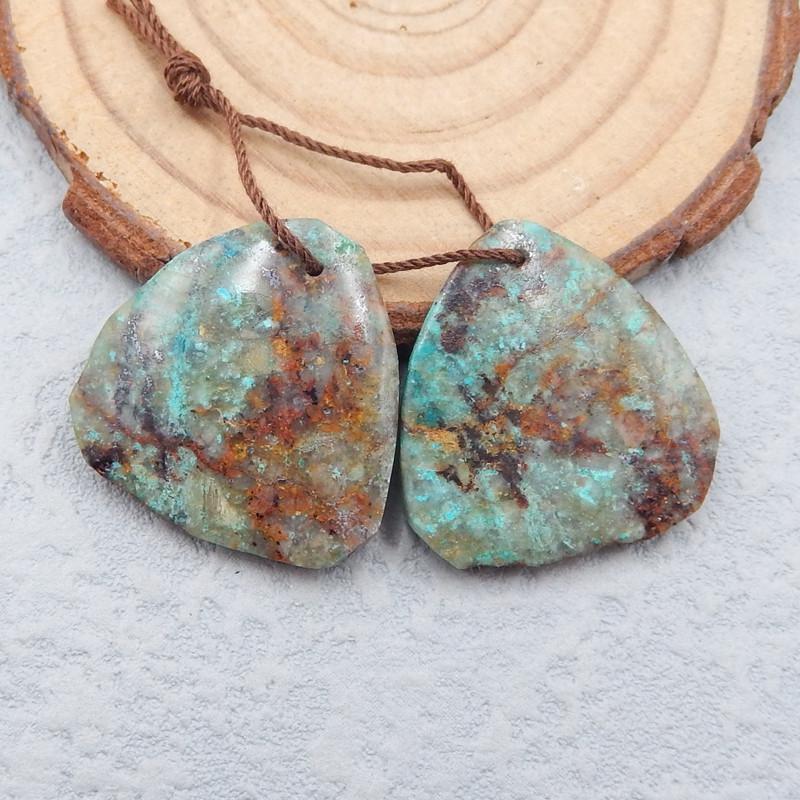 D2421 - 44.5cts Natural gemstone chrysocolla earrings bead pair,free shape