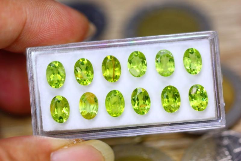 10.10ct Natural Green Peridot Oval Cut Lot V8125